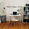 Faith • Hope • Love vinyl wall art in black home decorating quote.