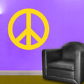 Chunky Peace sign vinyl wall art in a living room