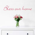Bless our home vinyl wall art sticker in a bedroom