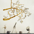Gold colour Lantern Tree branch with black leaves and with no extra birds vinyl stickers.