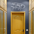 White coloured Tiger wall art hand drawn decal lying on a branch wall art sticker in a hall way bedroom.