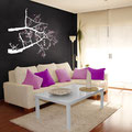 White colour Lantern Tree branch with pink vinyl letters with purple birds vinyl wall art.
