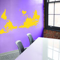 World map decal on an office wall sticker.