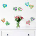 Union Jack hearts in bright colour stickers for home decorating
