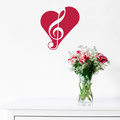 Treble Clef Heart vinyl wall art sticker