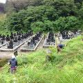 墓地斜面通路の草刈作業