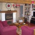 Le salon avec bibliothèque pour lire au coin du feu.
