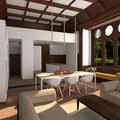 Umbau eines historischen Speisesaals zu Wohnbereich und Küche
