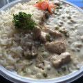 Hühner Frikassee mit Champignons und Reis