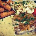 Schlemmerfischfilet mit Kartoffelkroketten und Fenchelgemüse