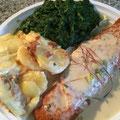 Seelachsfilet mit Sahnesoße Kartoffelgratin und Blattspinat