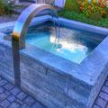 Brunnen mit Schwanenhals aus Edelstahl