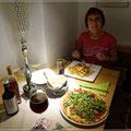 Pizza und Spaghetti mit Meeresfrüchten - sehr lecker
