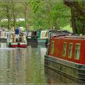 Hausboote auf dem Brecon Kanal