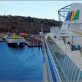 Blick auf den Fährhafen