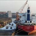 Blick vom Schiff auf den Hafen