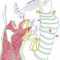 DAS GLÜCK SPRIESST ÜBERALL! / 13 x 21 cm / 2009 / fine art print (kuli, buntstift auf papier), limitierte auflage von 10 stück