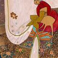 FRAU HOLLE, DIE BLUMEN UND DAS MEER / 25 x 30 cm / fine art print (mischtechnik auf holzkörper), limitierte auflage von 10 stück