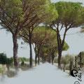 """""""Toscanaallee"""", 2009, Unikat, Druck auf Leinwand, 31x28 cm, verkauft"""