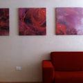 Künstlerische Gestaltung der Hotelzimmer, Vitalhotel Rainer, St. Walburg, Ultental, Südtirol - Rosen-Komfortzimmer - Wandbemalung und Drucke auf Leinwand