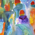 Elke König, Acryl auf Pappe, hinter Glas 17 x 17 cm