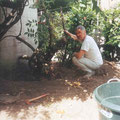 Italo con il Glicine prima della raccolta