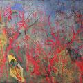´Fieberklee und Blutweiderich`2007, 40x58 cm, 4 Farben/Material/Tonpapier