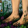 Peters Füsse (Käfer soll seine Beine hinauf krabbeln)