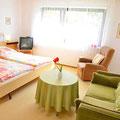 Wohn-/Schlafzimmer mit Blick in den Garten und Tür zur Terrasse.