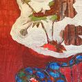"""Secret Paintings 29/29: Anemone, Mischtechnik auf Karton, 37 x 72 cm, 2015, """"Die Anemone ist die Blume der Winde. Die Legende sagt, die Anemone sei aus den Tränen der Aphrodite entstanden, als sie den Tod ihres Geliebten Adonis beweinte."""""""