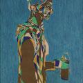 Der Zeichenlehrer, Aquarell und Buntstift auf Papier, 2017, 59 cm x 42 cm