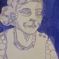 Draht-Luise, Tinte, Fineliner und Silbertinte auf Papier, 42 cm x 29 cm, 2017