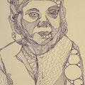 Draht-Odette, Fineliner und Silbertinte auf Papier, 42 cm x 29 cm, 2017