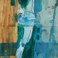 Tänzerin - Mischtechnik auf Papier; 17 cm x 39 cm, Privatsammlung