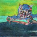 Auf der Lauer: Mit allen Sinnen bereit für den nächsten Sprung: die kleinste Bewegung wird ihn auslösen. - ca. 48 cm x 35,5 cm; Öl auf Leinwand, Privatsammlung