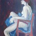 Der rote Stuhl, Tempera auf Karton, 2018, 85,5 cm x 60,5 cm