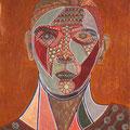Selbstportrait mit brauner Bluse - 2015, Öl auf Leinwand, 35 cm x 47 cm