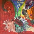 """Secret Paintings 28/29: Basilisk, Mischtechnik auf Karton, 37 x 72 cm, 2015, """"Ich weine - Meine Träume fallen in die Welt. In meine Dunkelheit Wagt sich kein Hirte.""""  Else Lasker-Schüler: Giselheer dem Heiden"""