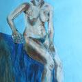 Frau auf blauem Samt, Ei-Tempera auf Papier; 69,5 cm x 50 cm
