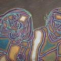 Zwei Mädchen - 2015, Öl auf Karton, 38 cm x 58 cm, Privatsammlung