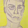 Junger Mann in gelb, Fineliner und Highlighter auf Papier, 42 cm x 29 cm, 2017
