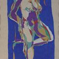 Blaue Stunde,  Aquarell und Buntstift auf Papier, 2017, 59 cm x 42 cm