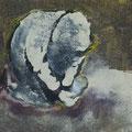 Acryl, Tusche, Asche auf Lenwand, 20x25 cm, 2017