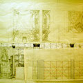 "Garfield High School ""Auditorium Interior Mural"" Design ©2007, East Los Angeles, California USA  Pencil on Paper, Dimensions 144"" w x 36"" h"