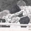Armando Muniz vs Carlos Palomino - WelterWeight Championship, Los Angeles, California  USA  ©1978, Pencil on Paper.