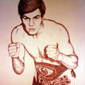 Portrait of: Jose 'Pipino' Cuevas - WelterWeight Champion, Los Angeles, California  USA  ©1978, Ink on Illustration Board