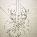 "Custom Guitar ""Chingon Scorpion"" Design, San Antonio, Texas USA  ©2005, Pencil on Paper, Dimensions 48"" w x 36"" h"
