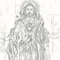 "Mural Study for ""The Resurrection"" Painting Series - Bell Tower Chapel, Los Angeles, California USA  ©2001, Pencil on Paper"