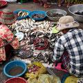 Grundnahrungsmittel - Fisch wird auf dem Markt in Battambang in großen Mengen verkauft