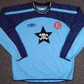 Trikot, Torwarttrikot, Saison 2001/2002, Fortuna Düsseldorf, matchworn, Nr. 1, Tobias Koch, Umbro, Die Toten Hosen